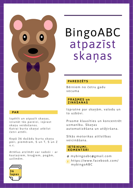 BingoABC atpazīst skaņas